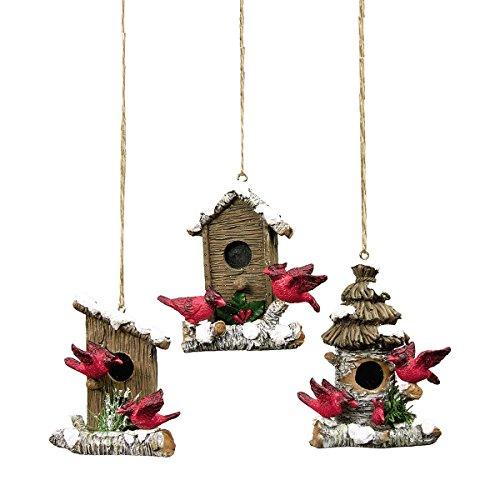 Cardinal Birdhouse Ornament, Assorted 3 For Sale