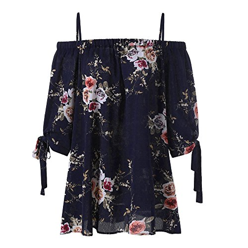 LUCA Women's Floral Print Half Sleeve Cold Shoulder Blouse Casual Shirts Tank Tops Camis Navy