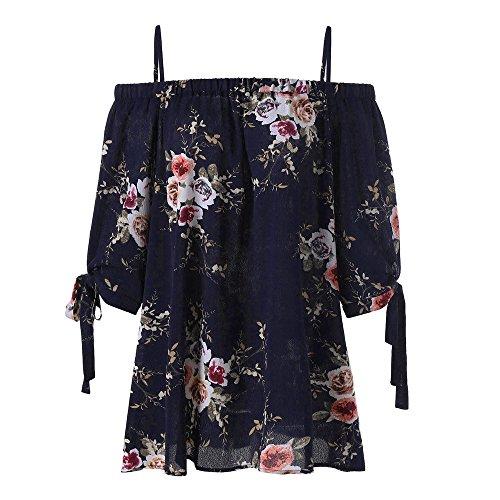 (Women Floral Shirt, JOYFEEL Ladies Off Shoulder Printing Short Sleeve Vest Tops Summer Casual Loose Tank Top Camisole)
