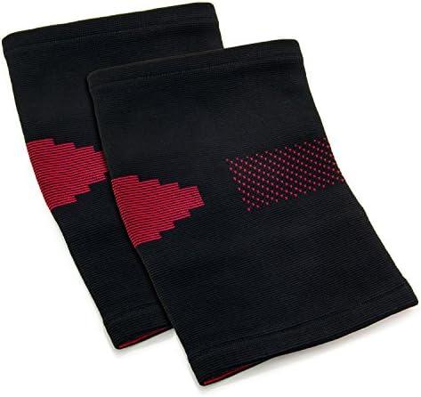 2x Knie-Bandage Schwarz-Rot