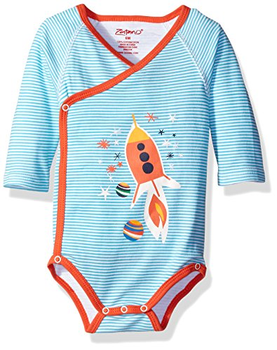 Zutano Baby Printed Long Sleeve Wrap Body, Rocket Ship, 3 Months - Baby Rocket Ship