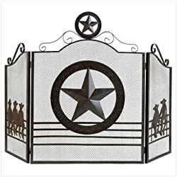 Gifts & Decor Rustic Weathered Texas Lone Star Metal Fireplace Screen by Furniture Creations