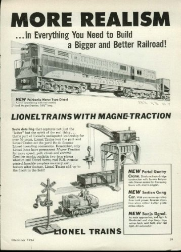 More Realism Lionel Electric Train ad 1954 Lackawanna Diesel, Section Gang Car -