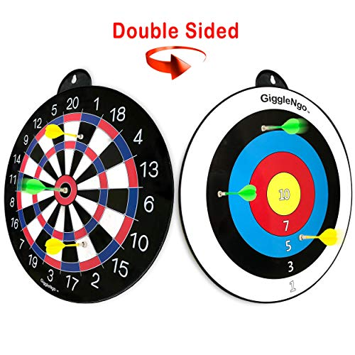 GIGGLE N GO Reversible Magnetic Dart Board For Kids - Excellent Indoor Game, Will Make a Great Boys Gift for Christmas - 1 Fun Kids Game on Each Side, Just Turn It Around and Play a Different Fun Game from GIGGLE N GO