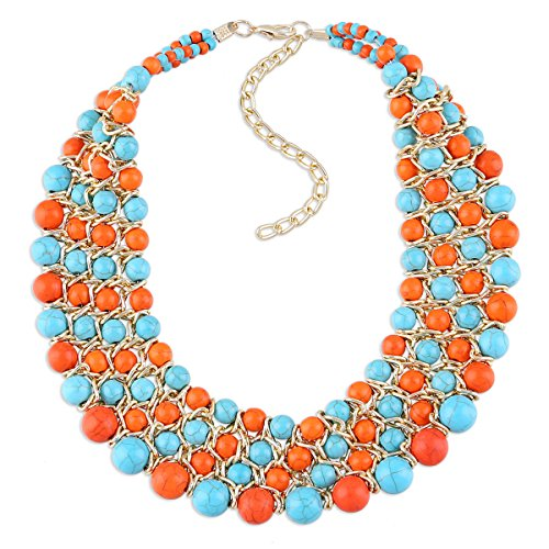 KAYMEN FASHION JEWELLERY Golden Chains Imitation Turquoise Beads Weaving Multicolor Chokers Necklace for Women, Prom, Party, Wedding