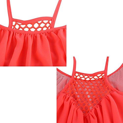 Casual de Sans Fluorescent Robe de M Soie Manches Plage Femme Sexy Jaune rouge Robe Nuit Robe t Mousseline Courte SwAdqAt