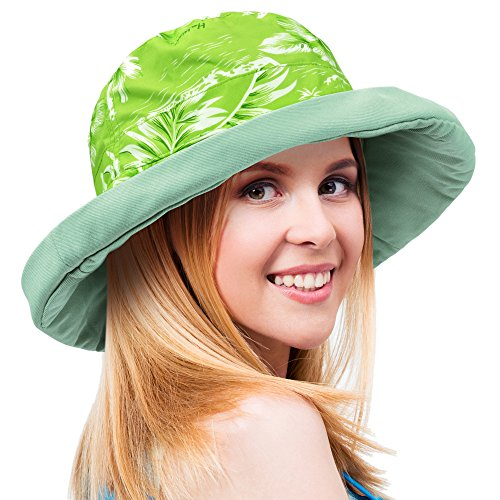 Women's Sun Hat Reversible Bucket Cap UPF 50+ Travel Beach Hat Floral (Floral Reversible Hat)
