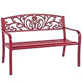 Best Choice Products Patio Garden Bench Park Yard Outdoor Furniture Steel Frame Porch Chair, 50''
