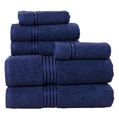 Lavish Home 100% Cotton Hotel 6 Piece Towel Set - Navy