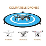 EXSPORT-Portable-Foldable-Waterproof-D75cm-Drone-Landing-Pad-for-Mavic-Pro-Phantom-3-Phantom-4-Inspire-1-and-Quadcopters-Package-Comes-with-1-Landing-Pad-1-Carrying-Case-3-Nails-8-Reflective-Strips