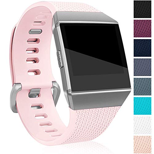 Maledan Compatible with Fitbit Ionic Bands for Women Men, Classic Accessory Strap Replacement Band for Fitbit Ionic Smart Watch, Sand Pink, Small