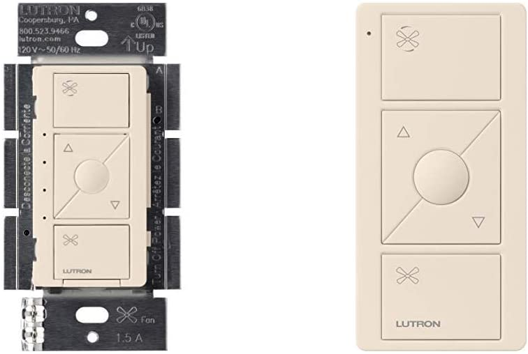 Lutron Caseta Wireless Smart Fan Speed Control, Single-Pole, PD-FSQN-LA, Light Almond, Works with Alexa and the Google Assistant with Caseta Wireless Pico Remote Light Almond