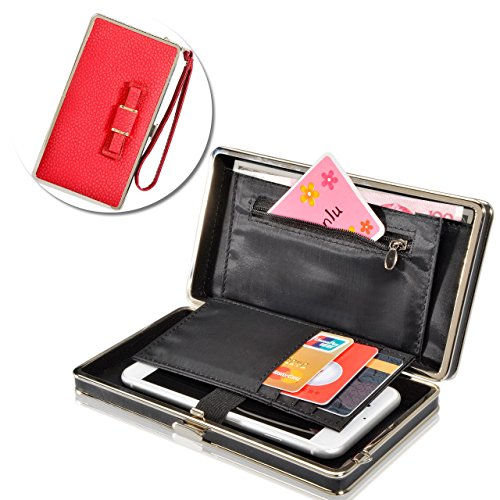 Embedded Ribbon (GALAXY O5,G5500,G550 Universal Wallet Purse,Vandot Phone Case Bag With Wristlet,Credit Card Slots,Ribbon,Passport Holder,Driving license Folder for ZTE ZMax Pro- Updated Version Bow Tie Knot [RED])