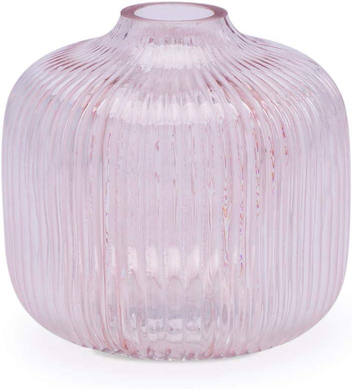 10 10cm. Black Velvet Studio Verre d/écoratif Vase Couleur Vert Modern Vintage Vase pour Bureau Table de Salle Enregistr/ées avec Motif ray/é Peonia 10