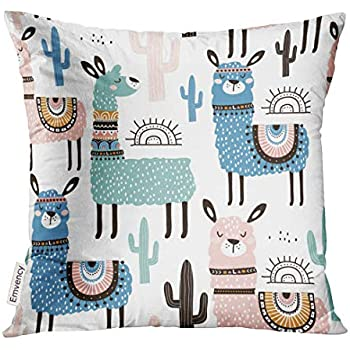 Amazon Com Upoos Throw Pillow Cover Alpaca With Llama
