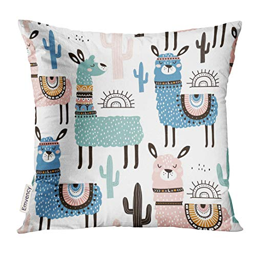UPOOS Throw Pillow Cover Alpaca with Llama Cactus and Creative Childish Great Cute Lama Decorative Pillow Case Home Decor Square 18x18 Inches Pillowcase
