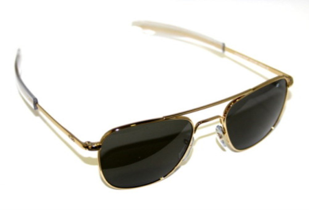AO Eyewear Original Pilot Sunglasses 55mm Gold Frames with Bayonet Temples and True Color Grey Glass Lenses (OP55G.BA.TC)