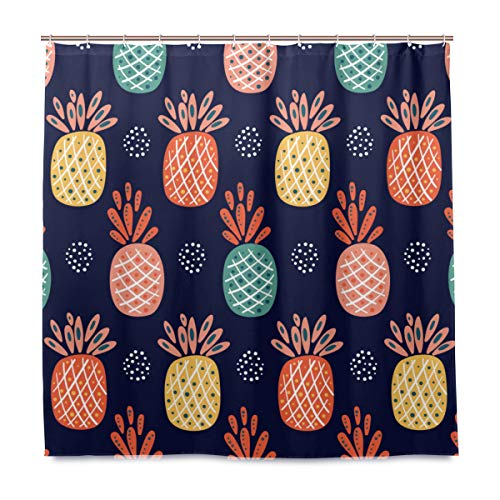MIGAGA Decoration Shower Curtain Shower Fruit Vector Background Pineapple Abstract Seamless Bath Curtains Waterproof Fabric Bathroom Decor Set with Hooks -