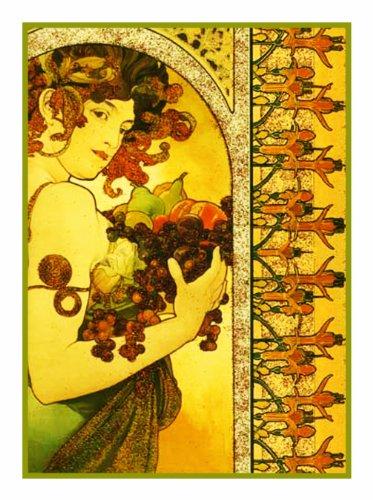 Orenco Originals Fruit by Alphonse Mucha Counted Cross Stitch Pattern