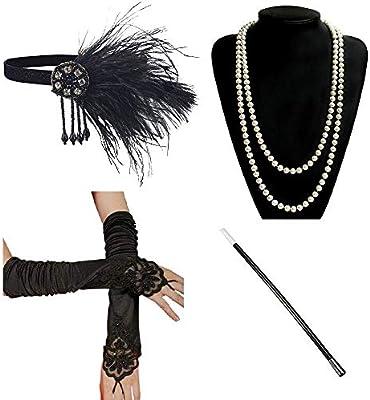 1d46cbb6acaa Ebeta 1920 s Accesorios para Disfraz de charlestón Disfraz de los años 20  (Venda para el Pelo