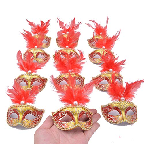 Yiseng Masquerade Mini Mask Party Decorations 12pcs Feather Small Mask Luxury Pearl Mardi Gras Decor Red -