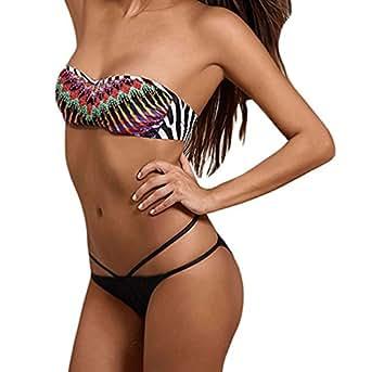 LEO BON Womens African Rays Bandeau Bikini Tie Side Bottom