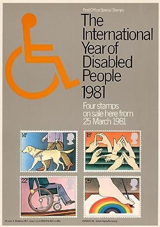 1981 año Internacional de discapacitados A4 cartel raro ...