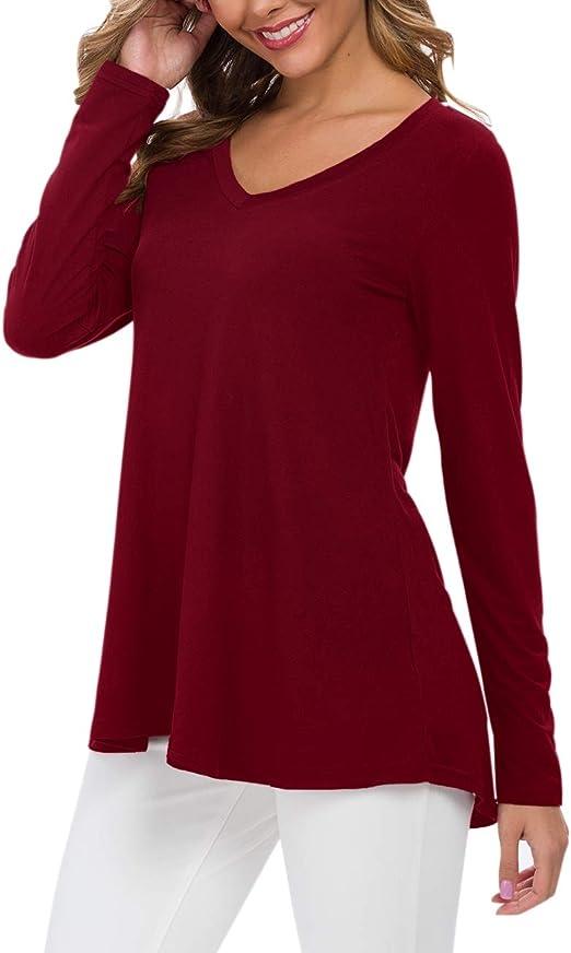 AUSELILY Camiseta de Manga Larga con Cuello en v para Mujer T/única Tops Blusa Camisas.