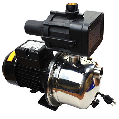 BACOENG 115V 1HP 15GPM Stainless Steel Booster Pump & Jet Pump Shallow Well with Water Pressure Switch -