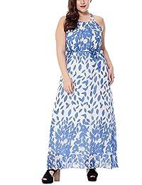 Bewish Womens Casual Summer Floral Printed Sleeveless Chiffon Long Dress