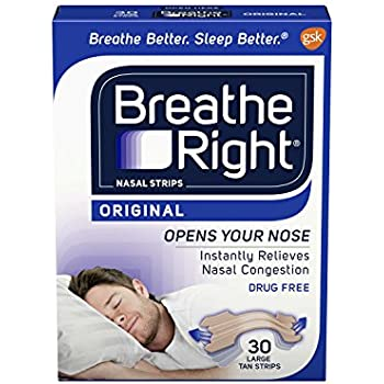 Breathe Right Nasal Strips to Stop Snoring, Drug-Free, Original Tan Large, 30 count