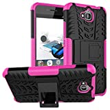 Huawei Y6 Pro Hybrid Case, Honor Play 5X Shockproof Case, Dual Layer Protection Shockproof Hybrid Rugged Case Hard Shell Cover with Kickstand for 5.0'' Huawei Y6 Pro, Honor Play 5X (Hot Pink)