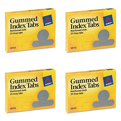 Avery Gummed Index Tabs, 25 Gray Tabs, Pack of 25 (59112), 4 Packs