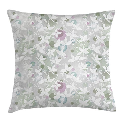 Ambesonne Floral Throw Pillow Cushion Cover, Spring Decorations Seamless Pattern with Flowers in Vintage Style Print, Decorative Square Accent Pillow Case, 18 X 18 Inches, White and Reseda Green