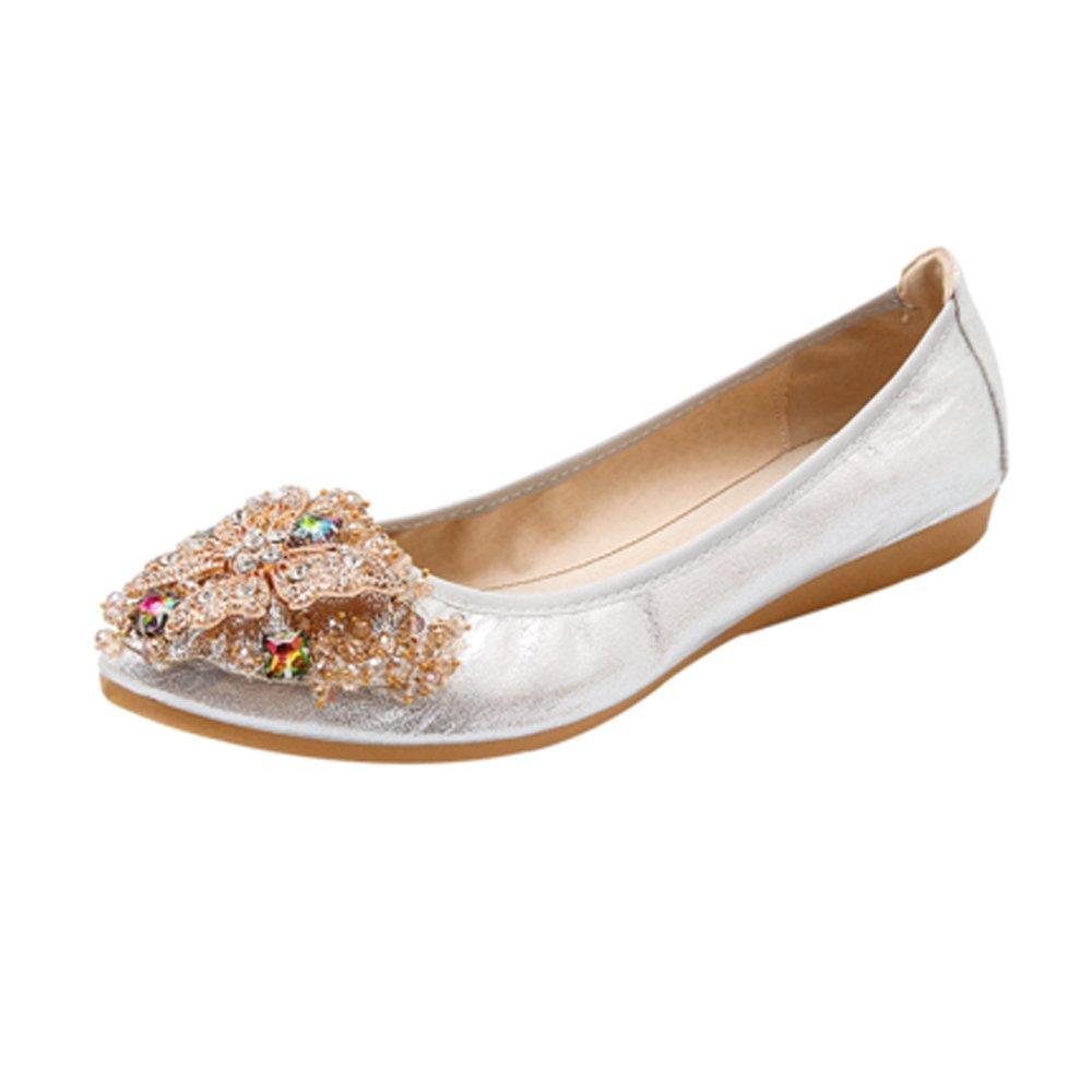 Women Ballerina Flats Rhinestone Foldable Loafer Comfort Wedding Dress Shoes