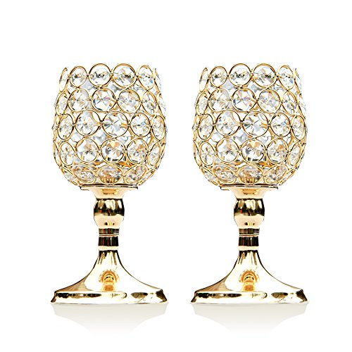 VINCIGANT 8 Inches Gold Crystal Candlesticks Set of 2 for Coffee Table Decorative Centerpiece Gift for Dad
