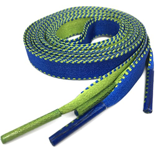 """1Pair Wide Double-sided Color Flat Shoelace Blue Green Colorful Shoelaces YJRVFINE Fashion Canvas Shoe Laces for Shoes Sneakers 47.24"""""""