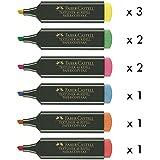 Rotuladores Fluorescentes Faber Castell, Caja x 10 surtido (3 Amarillo, 2 Verde, 2 Rosa, 1 Azul, 1 Naranja, 1 Rojo)