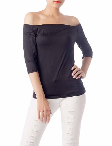 23536460fe9 iB-iP Women's Navy Stripe 3/4 Sleeves Bare Shoulder Shoulderless Tops Crop  Top