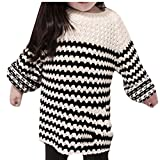 Alion Girl's Casual Christmas Knit Sweater Pullover Round Neck Tops Black 4T