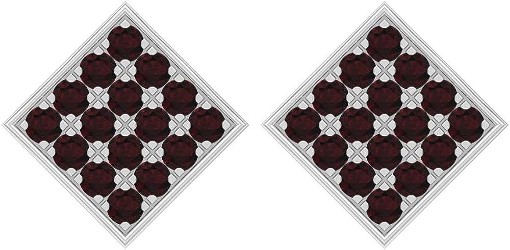 Pendientes cuadrados, 1,60 quilates, forma redonda, 2 mm, diseño de granate, oro macizo, joyas de piedras preciosas de oro macizo, pendientes de tuerca para mujer, con rosca trasera
