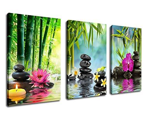 """Wall Art Zen Painting Spa Canvas Art 20""""x30"""" 3 Panels Framed"""