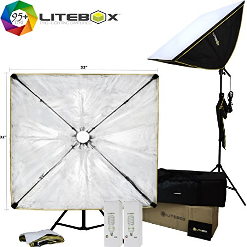 LITEBOX | 32'' x 32'' Large Photography Softbox Lighting Kit - Professional Photo/Video Bulbs, Stands, Travel Bag - 5500K Daylight by LiteBox