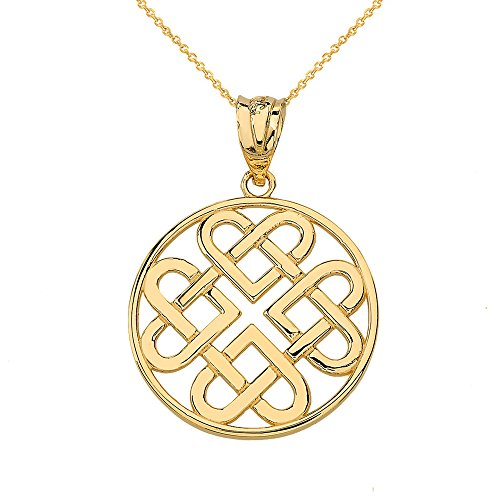 Claddagh Gold Women's 10k Yellow Gold Endless Celtic Knot Heart Infinity Pendant Necklace, 18