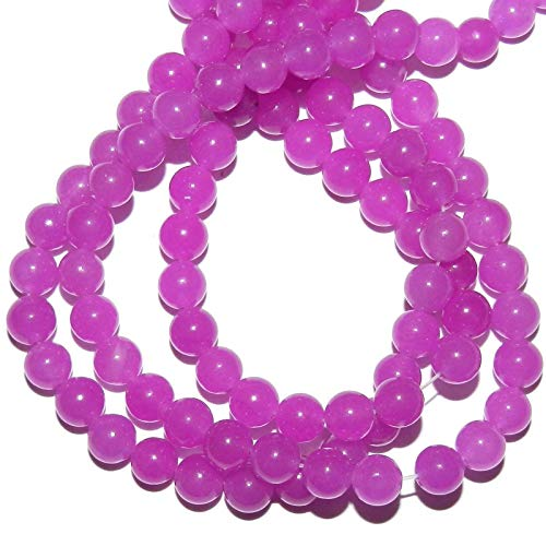 Purple Fuchsia Candy Jade 6mm Round Quartz Gemstone Beads - Jade Gemstone Candy