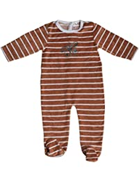 Striped Velour Footie With Butterfly