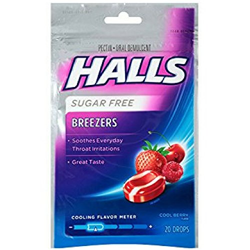 Halls Breezers Drops Sugar Free Cool Berry 20 Each (Pack of 6)