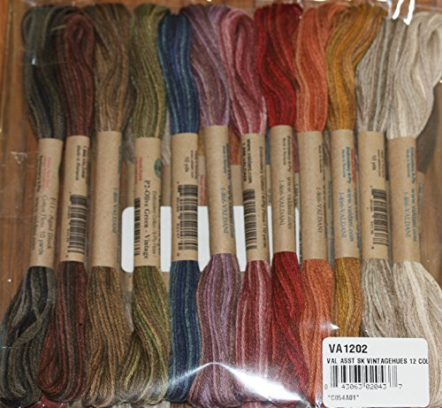 (Vintage Hues - Valdani 6-Strand embroidery floss/thread - 12 skeins/10 yards each)