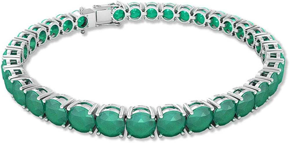 Pulsera de tenis de ónix verde de 14 quilates, con piedras preciosas redondas, certificado SGL, apilable, pulsera de boda, pulsera hermana, 7 pulgadas, 92.5 Plata esterlina