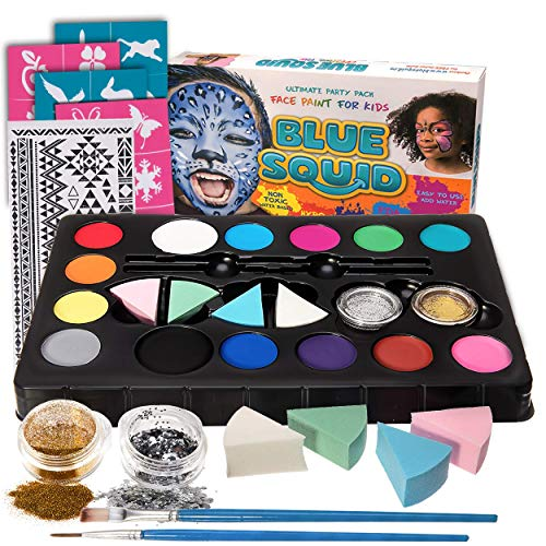 Blue Squid Face Paint Kit for Kids, 52 Pieces, 14 Colors, 2 Glitters, 24 Stencils, Tattoo Sheet, 4 Sponges, Face Painting Party Supplies - Safe for Sensitive Skin - Professional Costume Makeup -